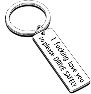 Drive Safe Keychain I Need You Here with Me Handsome Husband Trucker New Driver Gift (Please Drive Safely)