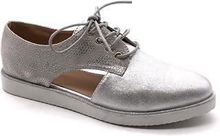 9b8f188cba5796 Angkorly - Chaussure Mode Derbies Ouverte Semelle Basket Femme Brillant  Finition surpiqûres Coutures Talon Plat 3