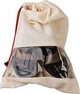 Earthwise Shoe Storage Bags Travel Portable Cotton Shoe Bags with Drawstring & Clear Window For Men and Women Made in the USA (Double Shoe - 2 Pack, Natural)