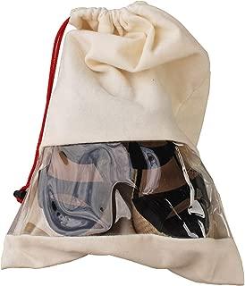 Earthwise Shoe 储物袋旅行便携式棉鞋袋带抽绳和透明窗,适合男士和女士,美国制造(2 件套)