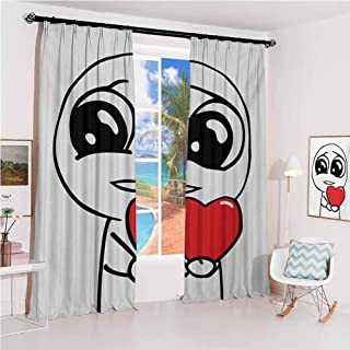 Humor Pleated curtains with blackout and lining Cute Lover Guy Meme Face with a Heart Romance Forever Spouse Valentines Image Used for Living room bedroom with sliding door patio door W42 x L84 Inch