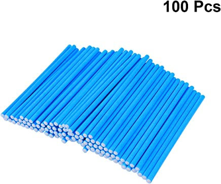 BESTONZON 100pcs Cake Pop Sticks Paper Lollipop Sticks Birthday Party DIY Craft Sticks Blue