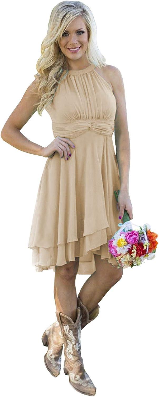 BONOYUER Women's Halter Neck Short Bridesmaid Dresses Ruched Chiffon High Low Knee Length Prom Party Dress