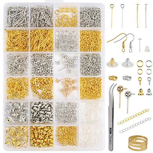 WOWOSS Kit Fermagli Aragoste e Anelli per Fare Gioielli Orecchini, Accessori Color Oro e Argento per Creazione Fai da Te