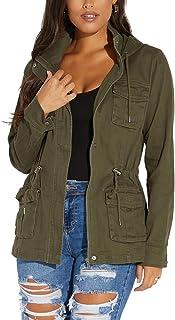 Women Camouflage Paint Lightweight Jackets Long Sleeve Zipper Canvas Camo with Pockets