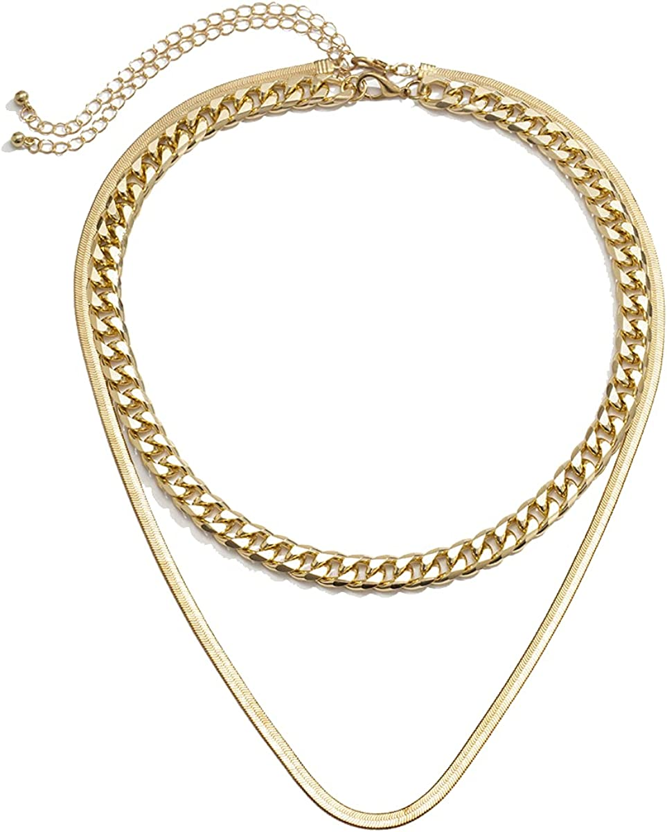 Men/Women Gold Chain - Jewelry Herringbone Layer Necklace Flat & Cuban Chain Necklace - Unisex - Adjusable Flat 18 (2.7) inches X 4mm and Cuban 16 (2.7) inches X 8mm - 2PC (18K Gold Plated)