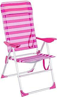 LOLAhome Silla Plegable con cojín para la Playa 5 Posiciones (Rosa y Blanco)