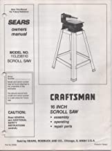 Owner's Manual Instructions for Sears Craftsman 16 inch Scroll Saw, Model 113.236110
