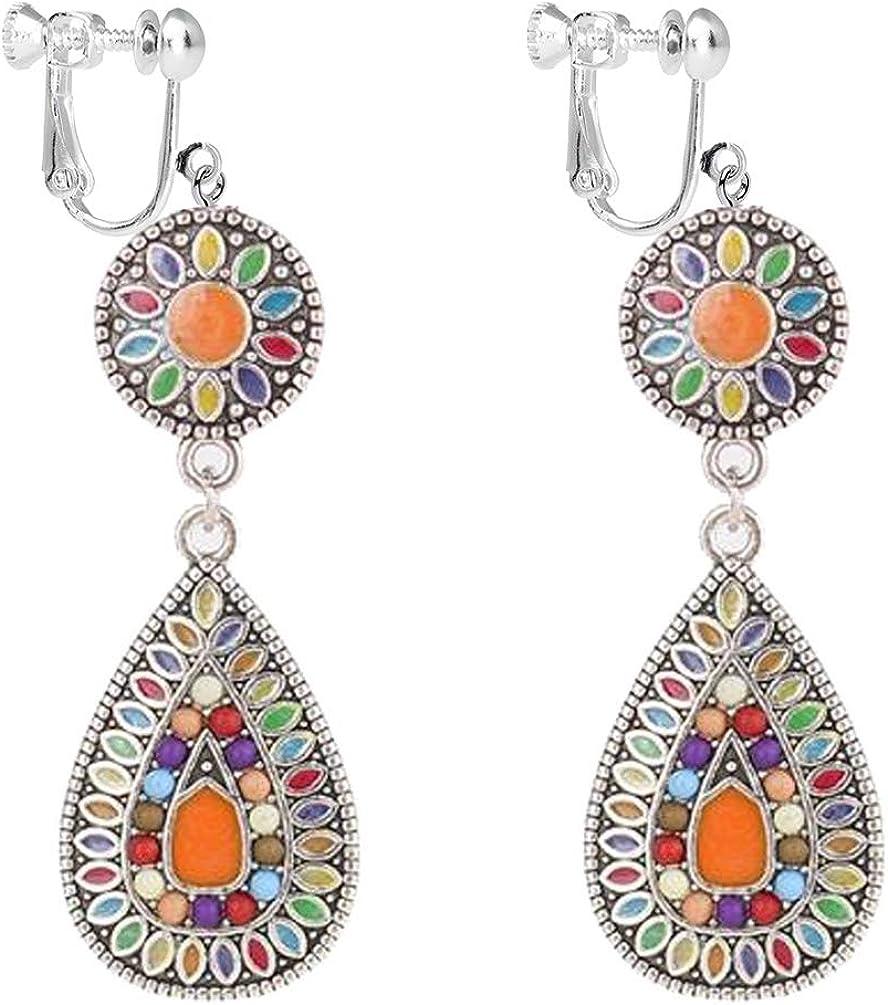 Clip on Earrings Ethnic Retro Bohemian Droplets Color Dress Mexico Gypsy Drop Dangle Earrings Women