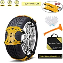 Ardorlove Car Snow Chains Emergency Anti Slip Snow Tire Chains for Most Cars/SUV/Trucks, Winter Universal Security Chains Tire, Amazing Traction Thickening Durable 6pcs