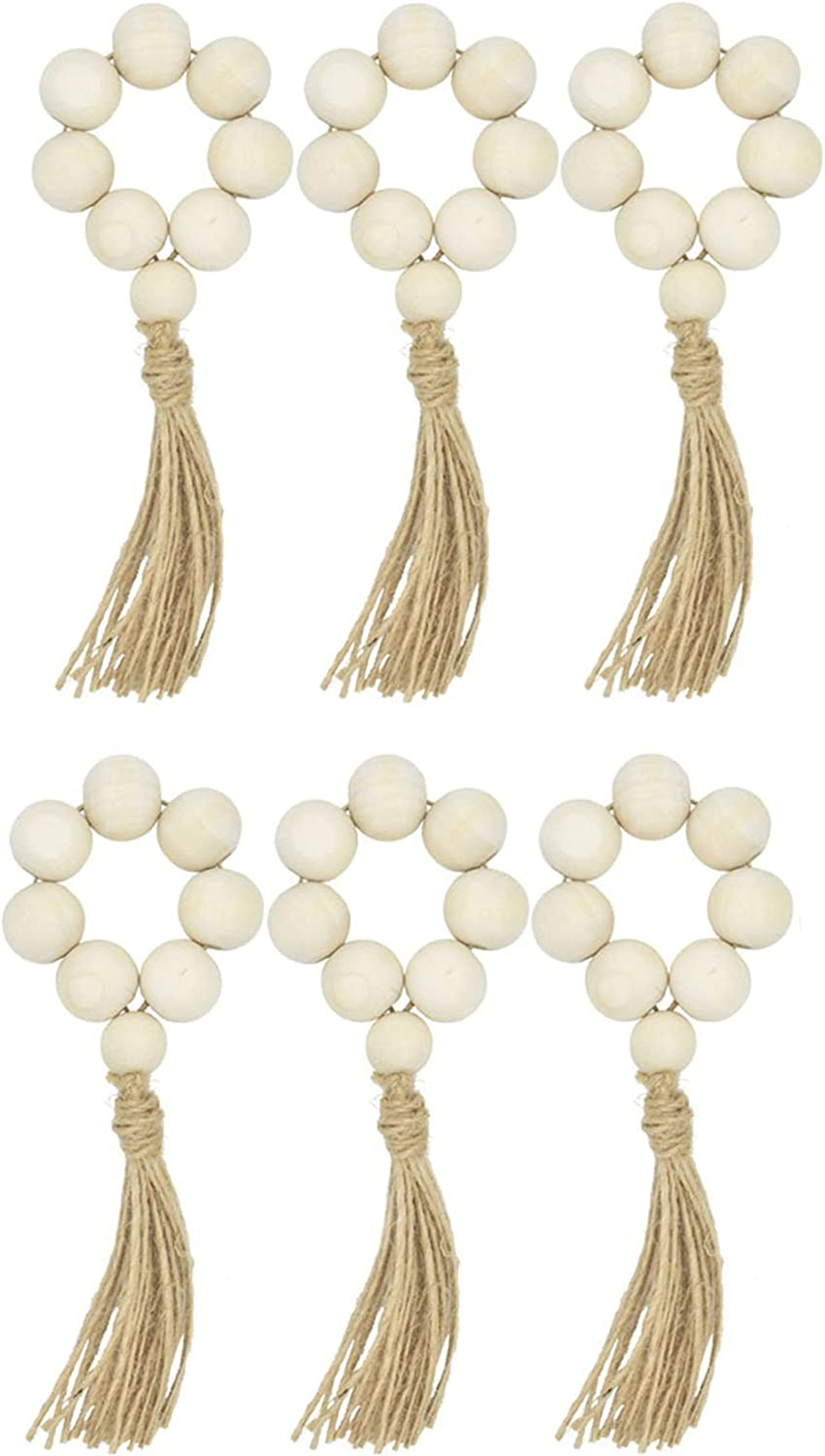 AceAcr Wood Translated Bead Garland Napkin Dec Rustic Beads Rings Ranking TOP3 Farmhouse