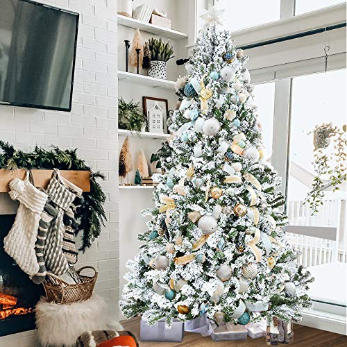 TOOCA 7.5ft Christmas Tree Snow Flocked, Hinged Artificial Christmas Tree with 1,346 Branch Tips for Home Holiday Party Decorations, Easy Assembly, Sturdy Folding Base (Decorations Not Included)