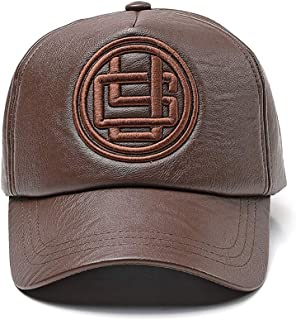Hat Fashion Men's Hat PU Leather Adjustable Winter Warm Baseball Cap Fashion Accessories (Color : Brown)