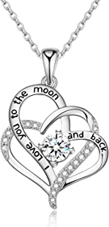 Sterling Silver Heart Necklace for Women with Swarovski Zirconia,Romantic Gifts for Her Birthday Anniversary Mother Jewelry Gifts for Women Mom Girls