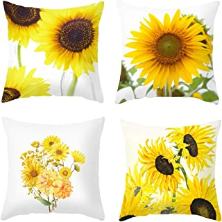 DACRIS Throw Pillow Covers for couch18x18 Inch Set of 4 Home Decor Summer Sunflower Velvet Decorative Throw Couch Case Cushion Case for Room Bedroom Room Sofa Chair Car (Sunflower & Sunshine, 18x18)