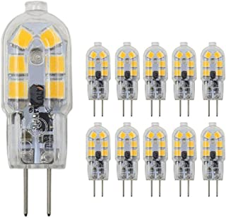 JKLcom G4 LED Light Bulbs G4 Bi-Pin Base 1.5W (20W Halogen Bulb Equivalent) 12V Warm White 3000K LED Bulbs for Landscape Ceiling Under Counter Puck Lighting,Pack of 10,Clear Cover