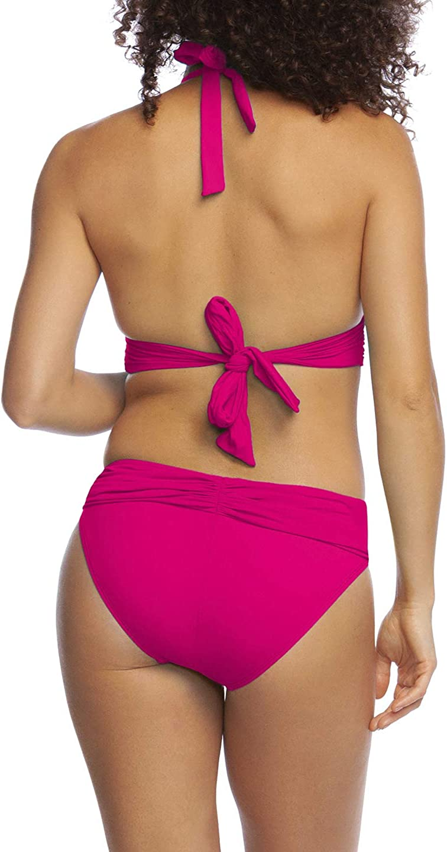 La Blanca womens Island Goddess Shirred Banded V-neck Halter Bikini Top