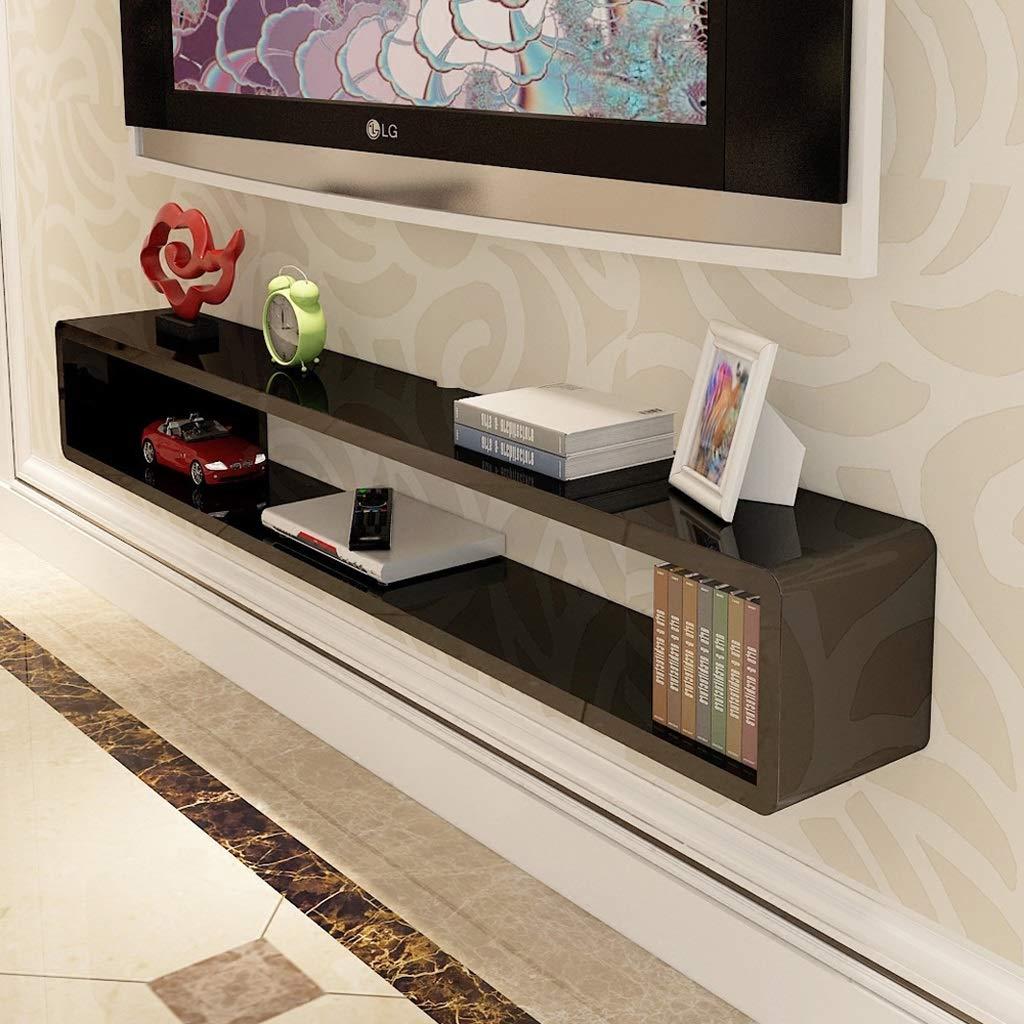 WXQIANG - Mueble de Pared para TV, Estante Flotante para Sala de Estar, Dormitorio, estantería de Pared, estantería Multimedia, Soporte de TV, Color Negro y Blanco, Madera MDF, Negro, 80 cm: Amazon.es: