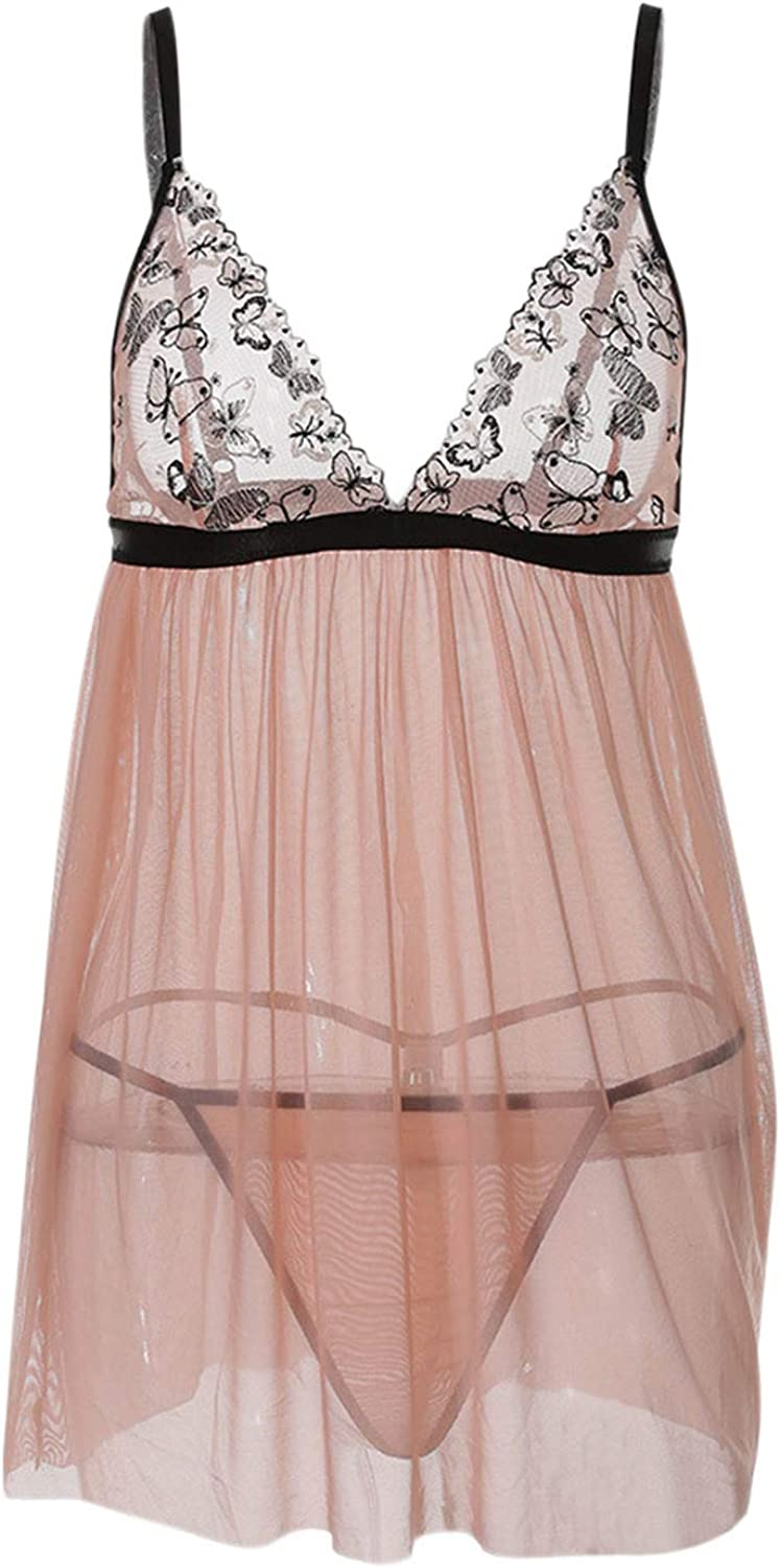 HuangLing V Neck Lingerie for Women Halter Chemise Lace Babydoll Mesh Nightwear Sling Teddy Sexy See Through Lace Dress Suit