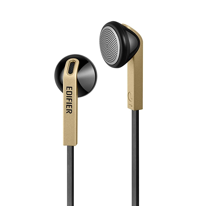 Edifier H190 Premium Earbuds - Classic Style Earbud Headphones - Golden Color Earphones with Non-Tangle Wire