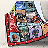 RosieLily Dachshund Blankets for Humans Dachshund Blanket Dachshund Throw Blanket Dog Throw Blankets Dog Print Blanket for Adults Kids Warm Fuzzy Throw Blanket for Couch,Sofa,Bedroom (60Wx80L)