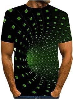 neveraway Mens Short Sleeve O-Neck Summer Digital Print Cotton Shirts Tops