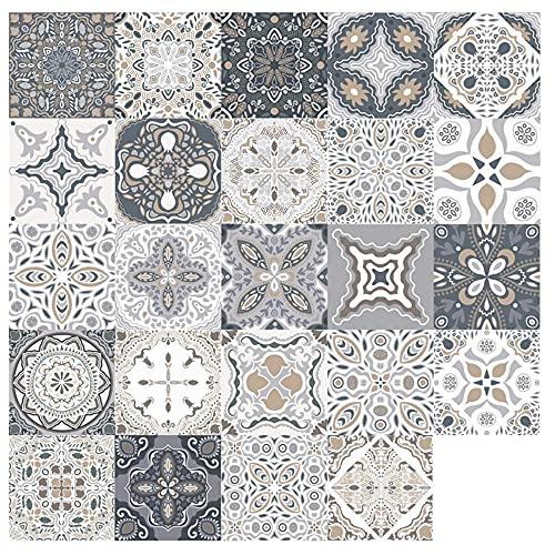 Mangsen Juego de 24 adhesivos para azulejos de cocina, 20 x 20 cm, autoadhesivos, estilo marroquí, para suelo, pared, azulejos, decoración para armario, muebles, mesa