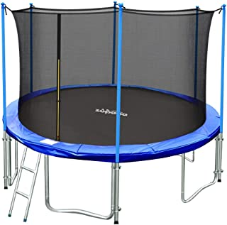 Zupapa TUV Approved 15ft 14ft 12ft 10ft Round Inside-net Trampoline Combo with Safety Enclosure and Pole, Ladder, Jumping Mat, Spring Pad, Spring Pull T-Hook