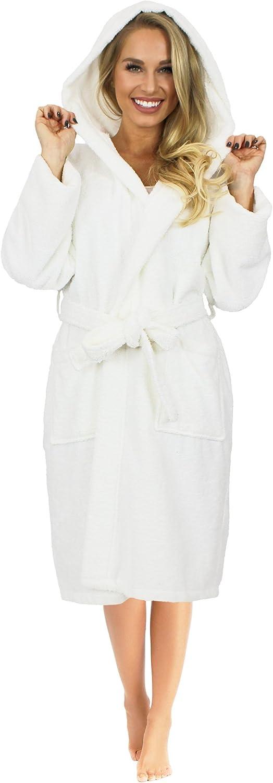Indulge Premium Linen Terry Hooded Bathrobe Men Women, 100% Cotton, Made in Turkey