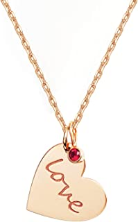 14K Gold Plated Heart Necklace with Swarovski Ruby Love Charm Pendant | Gold Necklaces for Women