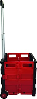 SECO Square Handle Large Foldable Plastic Trolley Cart - Black & Red