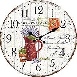 WISKALON 14 inch Wooden Wall Clock, Vintage French Country Romantic Design Purple Lavender Wall Clocks Arabic Numerals Battery Operated Silent Non-Ticking Clock for Home Decoration