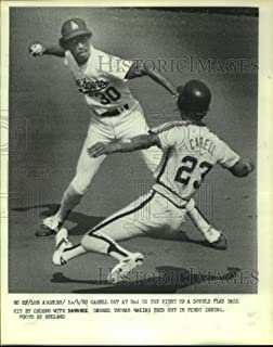 Historic Images - 1980 Press Photo Houston Astros Cabell Out at 2nd Base by Dodgers Player.