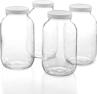 1790 Half Gallon Glass Jars (64oz) 4-Pack - Includes 4 Airtight Lids, Muslin Cloths, Rubber Bands - BPA Free, Dishwasher & Freezer Safe - Perfect for Kombucha, Kefir, Canning, Sun Tea, Fermentation