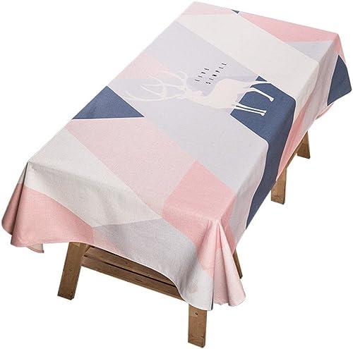 WERLM Tableau Moderne Minimaliste Tissus Tissu Coton Lin rectangulaire Petit Frais Table-Ronde dans Une Nappe d'adolescent Rouge Grille de Diahommets,140  200cm