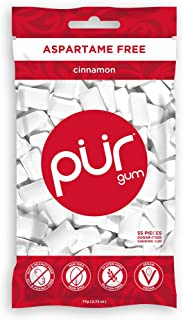 PUR 100% Xylitol Chewing Gum, Cinnamon , Sugar-Free + Aspartame Free, Vegan + non GMO,, 55 Count (Pack of 1)