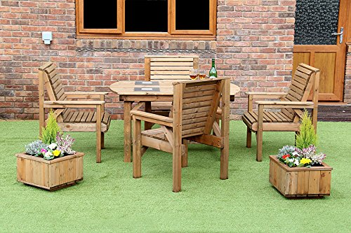 4 FEET 6 INCH WOODEN GARDEN FURNITURE PATIO SET TABLE +4 CHAIRS