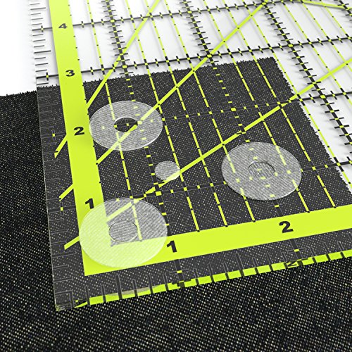 ARTEZA Acrylic Quilters Ruler & Non Slip Rings - Double-Colored Grid Lines (4.5X4.5, 6X6, 9.5X9.5, 12.5X12.5, Set of 4)