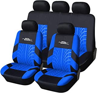 AUTOYOUTH Car Seat Covers Universal Fit Full Set Car Seat Protectors Tire Tracks Car Seat Accessories - 9PCS, Black/Blue