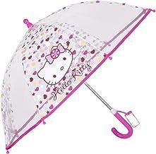 Hello Kitty Paraguas Transparente Burbuja de Niña – Paraguas Largo PoE de Cúpula con Lunares Dots – Antiviento Seguro Resistente – Manual - 3-5 Años - Diametro 64 cm