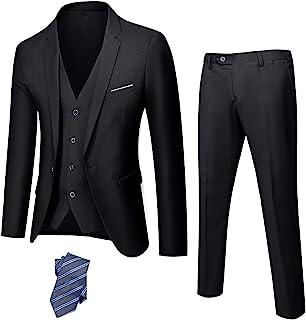 YND کت و شلوار باریک مناسب 3 قطعه مردانه ، یک شلوار جلیقه ژاکت یک دکمه ای جامد با کراوات