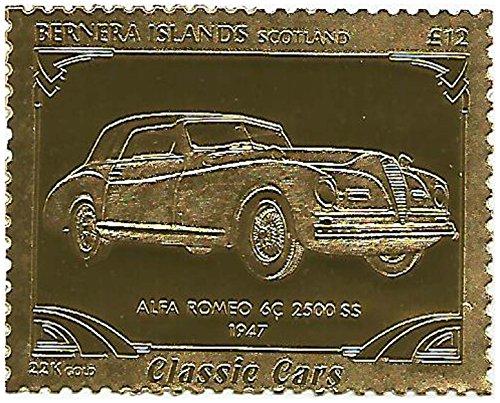 Unmounted Mint / perforato / dodici chili valore nominale serie Classic Car timbro impresso in lamina d'oro 22 carati con 1947 Alfa Romeo 6C 2500 SS / perfetto per i collezionisti / Bernera / 1996