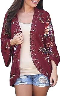 Blusa Kimono Cabo Abierto Encaje Floral Abrigo Informal Chaqueta Mujer Cárdigan