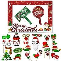 クリスマスフォトブース小道具キット 32個 大型フォトブースフレーム (20x28インチ) DIYクリスマス写真小道具 自撮りアクセサリー クリスマスホリデーパーティーの装飾に最適