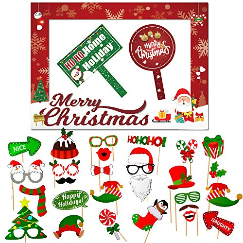 """Christmas Photo Booth Props Kit, 32PCS Photo Props with Large Photo Booth Frame (20x28""""), DIY Christmas Picture Props Selfie Accessories, Perfect for Xmas Holiday Party Decoration"""