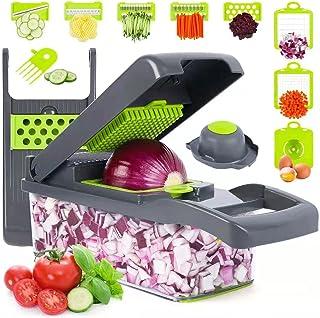 سبزی خردکن ، پیازچه خردکن ، ماندولین اسلایسر ، پرو 10 در 1 غذای حرفه ای خردکن و برش دهنده سبزیجات خرد شده چند منظوره ، دستگاه تاس ، قابل تنظیم برش سبزیجات با ظرف (خاکستری)