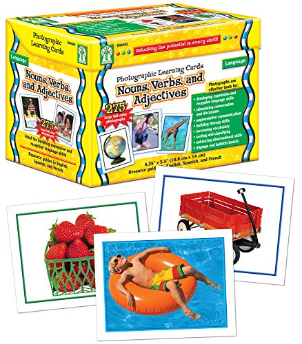 Carson-Dellosa Key Education Nouns, Verbs, and Adjectives Photographic Learning Cards—K-Grade 5 Flashcard Set for Building Vocabulary, Language, Grammar Fluency (275 pc) (D44045)