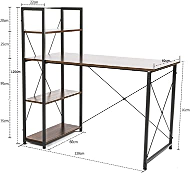 Homelikesport Table Bureau Informatique Ordinateur PC Etude Ecriture Poste de Travail en Bois Pieds en Metal Style Industriel