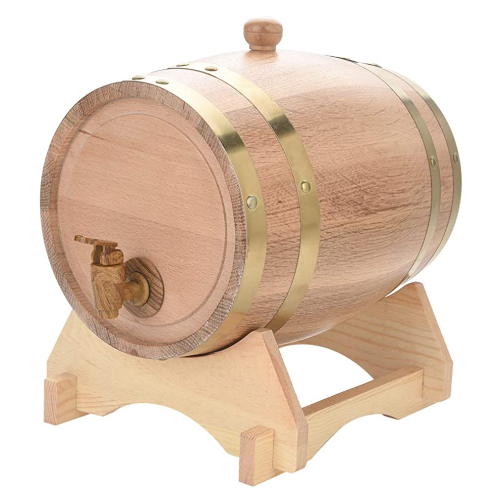 ミサイル機械的に調整可能オークバレル樽 オーク樽 ワイン樽 蛇口付き 洋樽 ワイン ビール ウィスキー 貯蔵用 保存用 1.5L/3L/5L/10L 木製 宴会 店舗 居酒屋 パーティー 結婚式などに適用(5L)