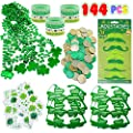 Kiddokids 144 St. Patrick's Day Party Favor Saint Patricks Day Irish Shamrock Glasses Necklaces